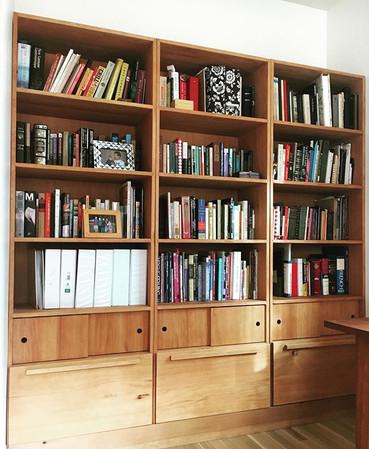 Custom designed and built Fir bookcase w