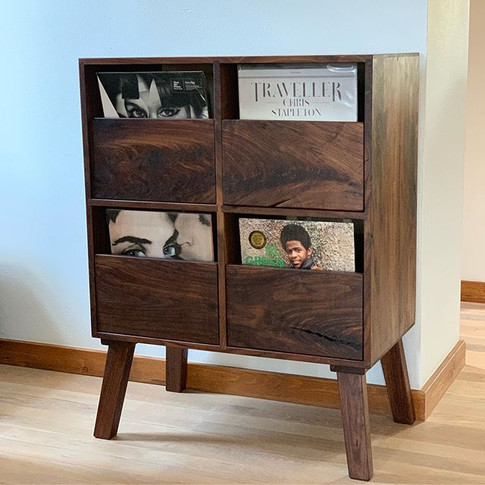 Walnut vinyl collection cabinet home at