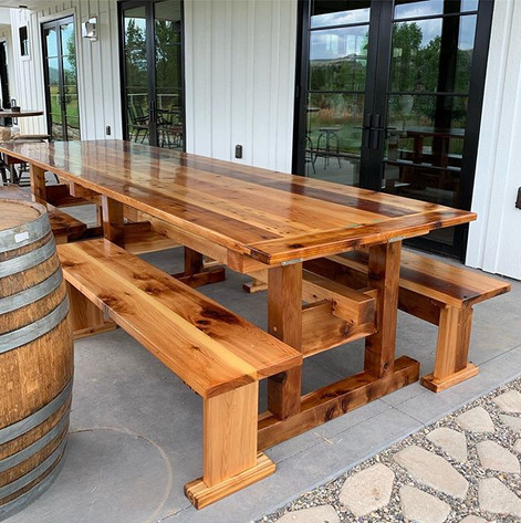 Cedar Patio Table and Benches-  This pro