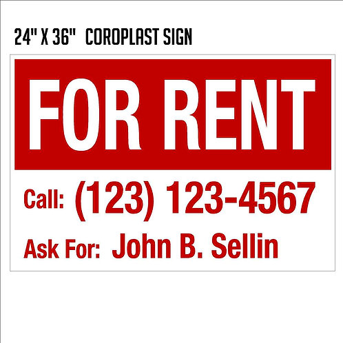 For Rent Sign (24x36)