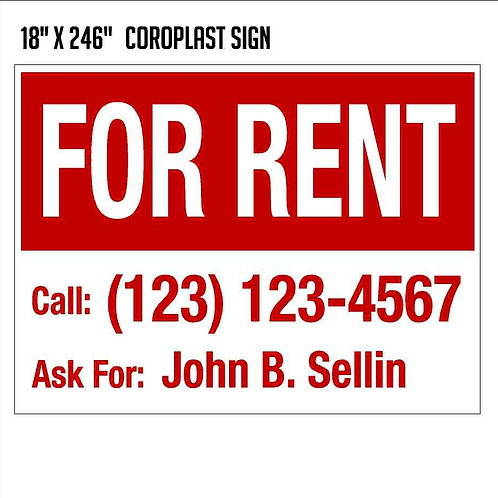 For Rent Sign (18x24)
