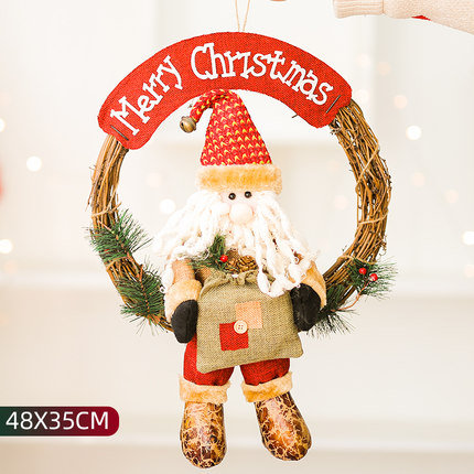 48x35cm Santa Claus with Rattan Hoop Door Hanging Decorations