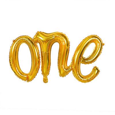 107cm x 50cm Word ONE Golden Foil Balloon
