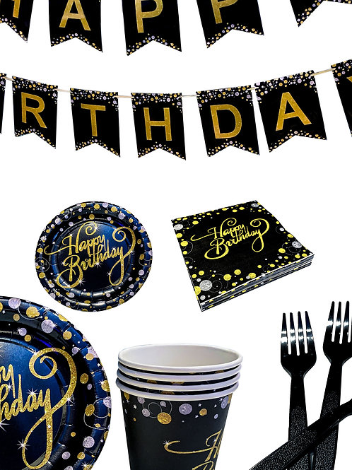 Black and Gold Themed 21st Birthday Table Decoration