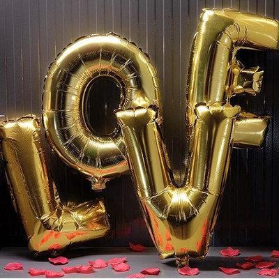 32 inch Large LOVE  Metallic Gold Foil Balloon Set