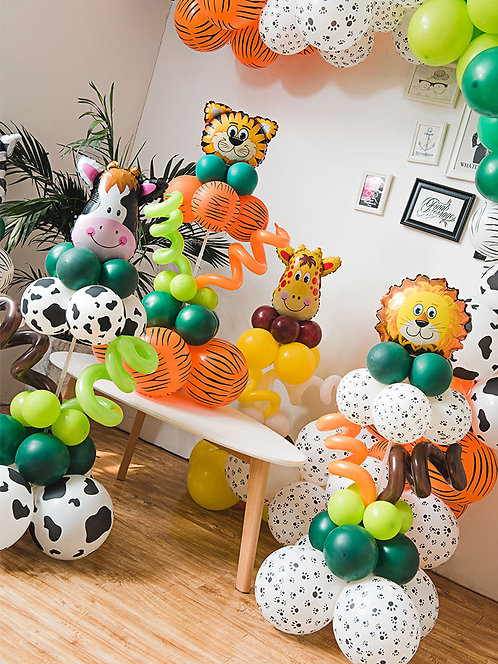 Jungle Safari Themed Balloon Party Box with Stand Kit 5 Pcs