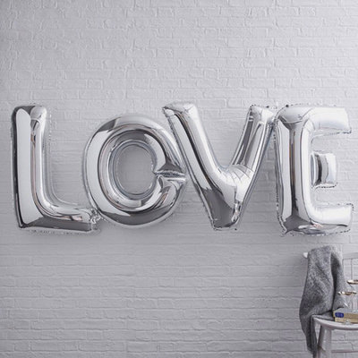 32 inch Large LOVE Silver Foil Balloon Set
