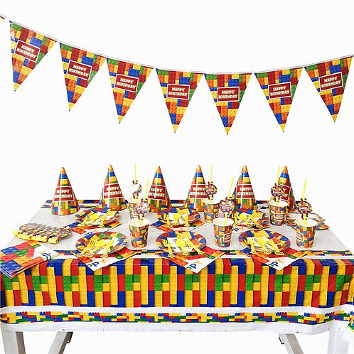 Lego Blocks Party Table Decorations for 6 Kids