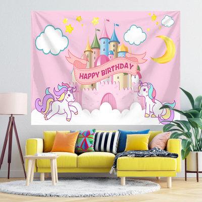 Unicorn & Castle Happy Birthday Tapestry