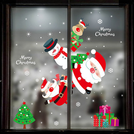 120cm x 80cm Cute Santa Claus and Christmas Friends Window Static Sticker