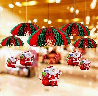 5pcs Santa Claus with Parachute HangingOrnaments