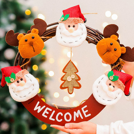 39x36cm Santa Claus and Reindeer with Rattan Hoop Hanging Decorations