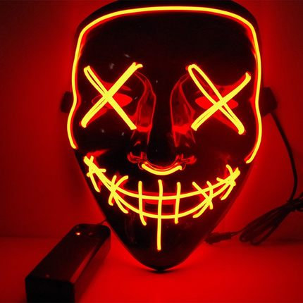 EL Wire Glowing Mask for Halloween Party Cosplay (Orange)