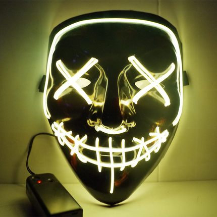 EL Wire Glowing Mask for Halloween Party Cosplay (Yellow)