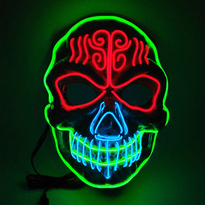 Halloween Light Up Glowing Skull Mask Handmade