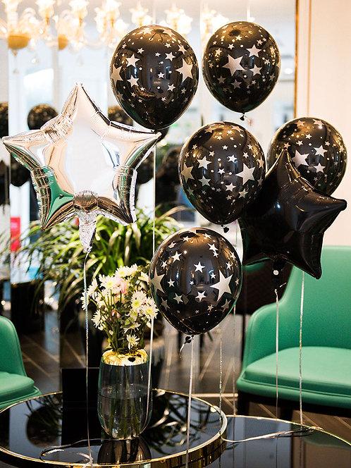 Hen's Party Decorations Silver Star Balloon Set 10pcs