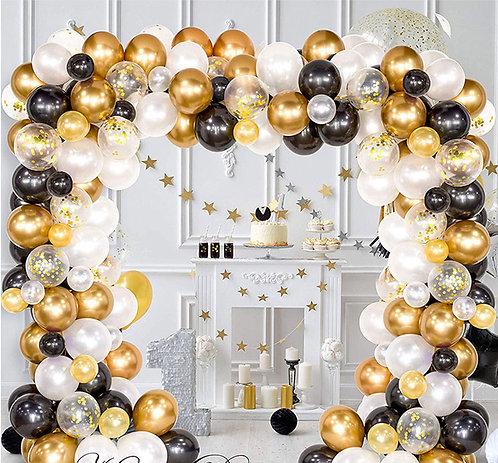 Black and Glod Balloon Arch & Garland Kit