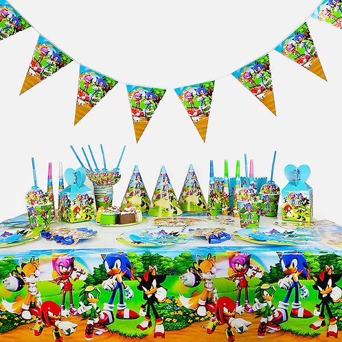 Sonic the Hedgehog Birthday Party Decorations kids Tableware Decor 16 Sets