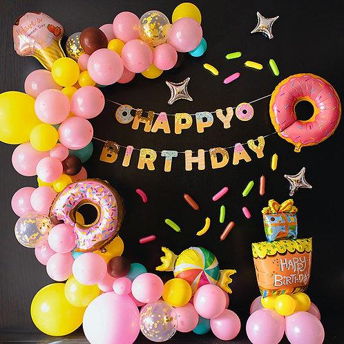 Sweet Doughnut Theme Balloon Party Box