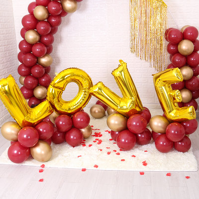 Luxury Gold Love Foil Balloons with Ruby Balloons Arch Set