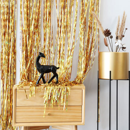 1x2 m Golden Metallic Tinsel Foil Fringes Curtains
