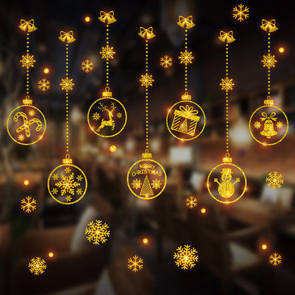 Golden Christmas Cartoon with Snowflakes Static Sticker