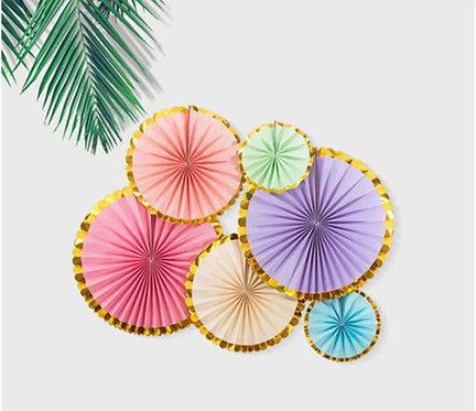 Round Folding Fan Party Decorations 6 Pcs Set (Rainbow)
