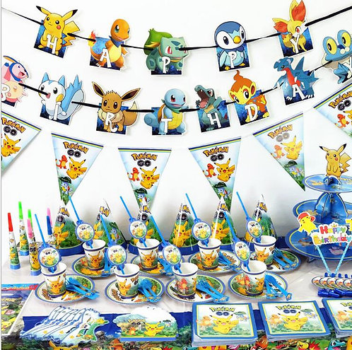 Pikachu Themed Party Table Decorations 16 Sets for 6 Kids