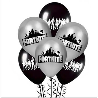 Fortnite Video Games Black and Grey Colours Balloons 10 Pcs