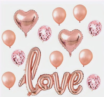 LOVE Rose Gold Balloons Party Decorations Set