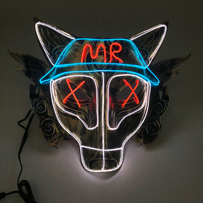 Halloween Light Up Glowing Werewolf Mask Handmade