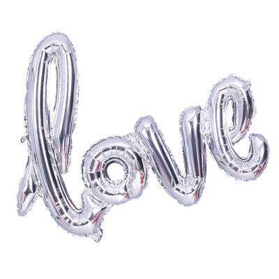 108cm X 64cm Large Love Silver Balloon