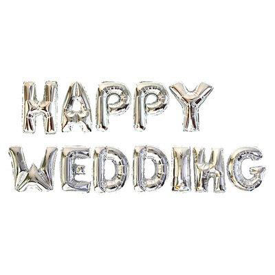 46 x 26CM HAPPY WEDDING Silver Foil Balloon Set