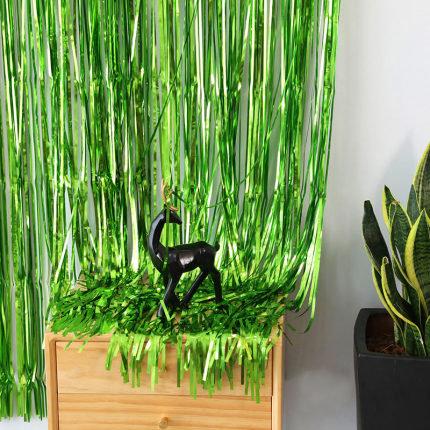 1x2 m Green Metallic Tinsel Foil Fringes Curtains
