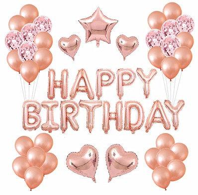 Happy Birthday Balloon Party Box Rose Gold