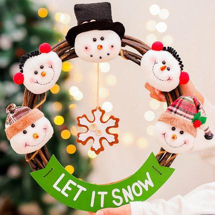 39x36cm Cute Snowmen with Rattan Hoop Hanging Decorations