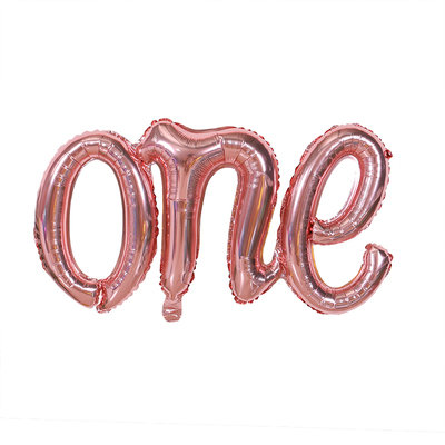 107cm x 50cm Word ONE Rose Gold Foil Balloon