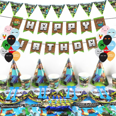 Minecraft Party Table Decorations Supplies Includes Balloons 20pcs