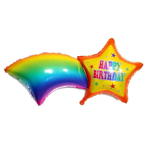 Rainbow Meteor Foil Balloon Happy Birthday