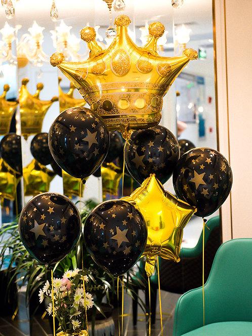 Romantic Gold and Black Star Balloon 10pcs Set