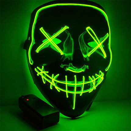 EL Wire Glowing Mask for Halloween Party Cosplay (Green-A)