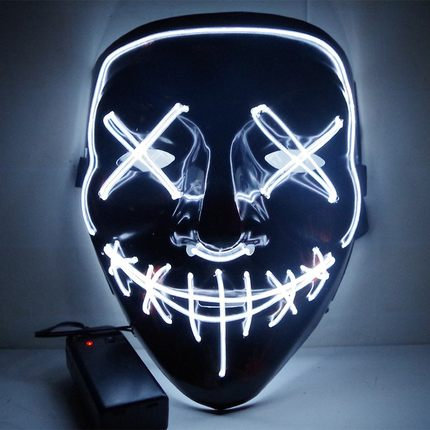 EL Wire Glowing Mask for Halloween Party Cosplay (White))