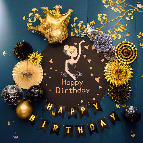 Ballet Girl Birthday Decorations Black and Gold