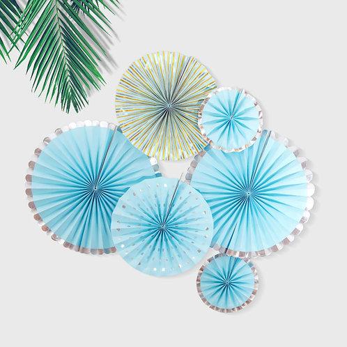 Round Folding Fan Party Decorations 6 Pcs Set (Blue)