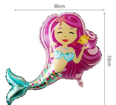 80x53 CM Large Purple Mermaid Foil Balloon