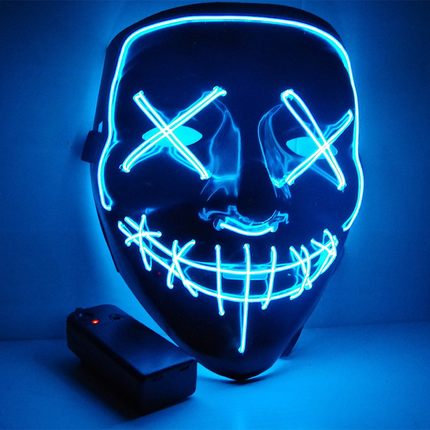 EL Wire Glowing Mask for Halloween Party Cosplay (Blue-A)