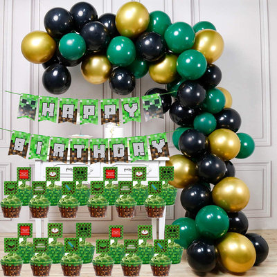 Minecraft Themed Birthday Balloon and Table Decorations Set