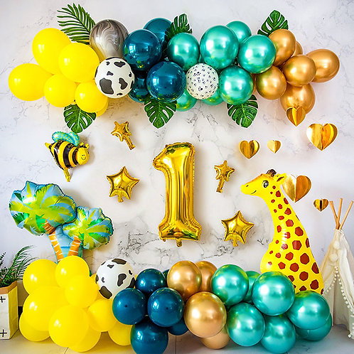 Happy Jungle Safari Birthday Balloon Set