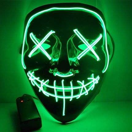 EL Wire Glowing Mask for Halloween Party Cosplay (Green)