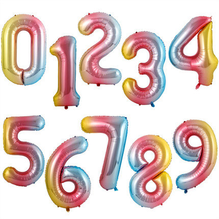 1pcs 16 inch Rainbow Gradient Color Number 0 to 9 Balloon